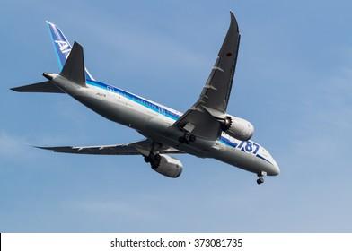 TOKYO, JAPAN - JUNE 21, 2014: Boeing 787-8 landing to the Haneda International Airport in Tokyo, Japan.