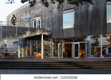 TOKYO, JAPAN - June 22, 2018: View of theLa Kagu building (fashion / cafe etc.) in Kagurazaka. The building's conversion from a storage facility was designed by Kengo
