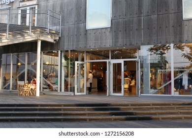 TOKYO, JAPAN - June 22, 2018: The entrance to La Kagu building (fashion / cafe etc.) in Kagurazaka. The building's conversion from a storage facility was designed by Kengo Kuma.