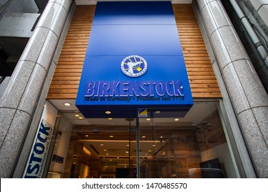 Tokyo, Japan - June 26, 2019: Birkenstock shoes store in Shinjuku. German brand of sandals