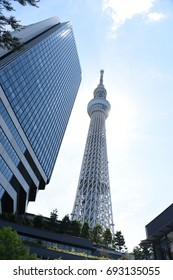 TOKYO, JAPAN - June 28, 2017 : Tokyo Skytree with sky is the backdrop