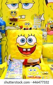 TOKYO, JAPAN - JUNE 30, 2016 : SpongeBob SquarePants merchandises on display. SpongeBob is American animated TV series.Spongebob is the highest rated series ever air on Nickelodeon.Editorial Used only