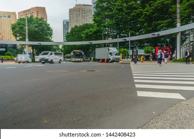 Tokyo, Japan - June 5, 2019 : Road Intersection of Nishi-Shinjuku at Nishi-Shinjuku in Tokyo , Japan