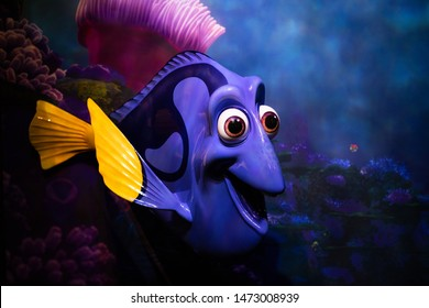 Tokyo, Japan - June 6, 2019:  Finding Dory Statue. Finding Dory is a 2016 American 3D computer-animated adventure film produced by Pixar Animation Studios and released by Walt Disney Pictures.