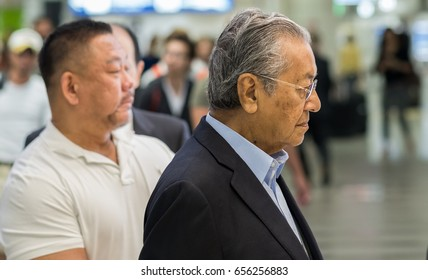 TOKYO, JAPAN - JUNE 8TH, 2017. Tun Mahathir Mohamad at Narita Airport, Japan. Tun Mahathir is an active Malaysian politician and the fourth Prime Minister of Malaysia from 1981 to 2003.