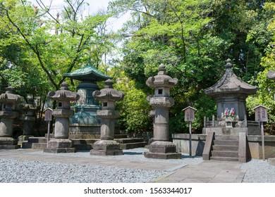 Tokyo, Japan - Mar 18 2019 - Mausoleum of Tokugawa Shoguns at Zojoji Temple in Tokyo, Japan. Located in its precincts are the tombs of six Tokugawa Shoguns and wives and children of shoguns.
