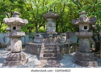 Tokyo, Japan - Mar 18 2019 - Tomb of Tokugawa Ieshige (1712-1761) at Mausoleum of Tokugawa Shoguns at Zojoji Temple in Tokyo, Japan. He was the 9th shogun of the Tokugawa shogunate of Japan.