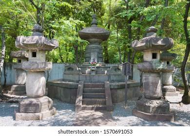 Tokyo, Japan - Mar 18 2019 - Tomb of Tokugawa Ieyoshi (1793-1853) at Mausoleum of Tokugawa Shoguns at Zojoji Temple in Tokyo, Japan. He was the 12th shogun of the Tokugawa shogunate of Japan.