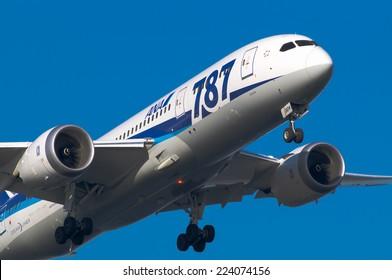TOKYO, JAPAN - MAR. 22, 2014: Boeing 787-8 landing to the Haneda International Airport in Tokyo, Japan.