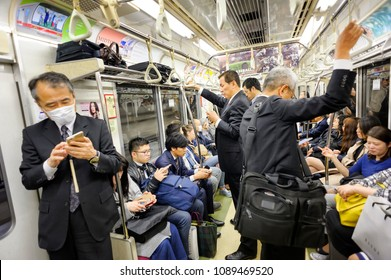 TOKYO JAPAN - MAR. 27 , 2018 : JR. Shibuya station, Unidentified Japanese are returning home after work. service by Metro is considered the most popular way of living in the capital.