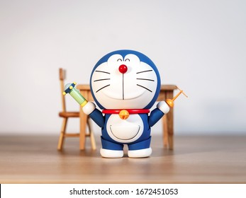 Tokyo, Japan - March 14, 2020: Doraemon show gadget Take copter and Small light.