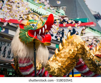 Tokyo, Japan - March 18, 2015: Golden Dragon Dance 'Kinryu no mai', a traditional commerative event held at Senso-ji temple in Tokyo every March
