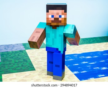 TOKYO, JAPAN - MARCH 20: Minecraft figure in Ginza district on March 20, 2015 in Tokyo, Japan. It is one of the world's best known shopping districts.