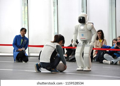 Tokyo, Japan, march 2016. Robot Asimo playing football at the Miraikan
