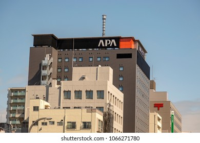 TOKYO, JAPAN - MARCH, 2018: The APA Hotel in the Asakusa district of Tokyo, Japan. APA Group (Always Pleasant Amenities) is a Japanese hospitality group that operates APA Hotels.