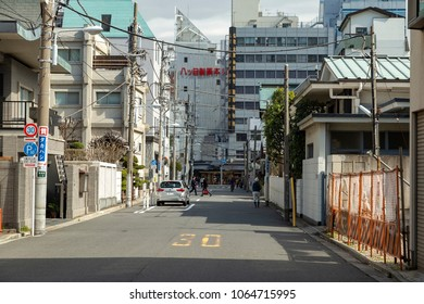 TOKYO, JAPAN - MARCH, 2018: One of the back streets in Asakusa area in Tokyo.
