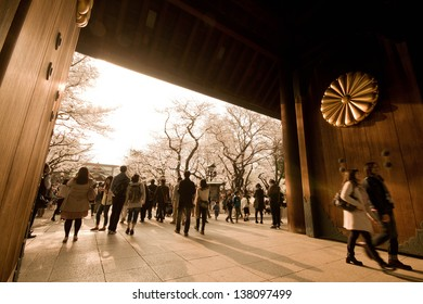 TOKYO, JAPAN - MARCH 23 2013: People visit Yasukuni Shrine,a famous place to view cherry blossom, in Tokyo on March 23 2013. The Shrine established in the second year of the Meiji era (1869).
