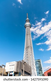 Tokyo, Japan - March 24, 2019: View of Skytree tower on asunny early spring day. Skytree is a broadcasting and observation tower in Sumida, Tokyo.