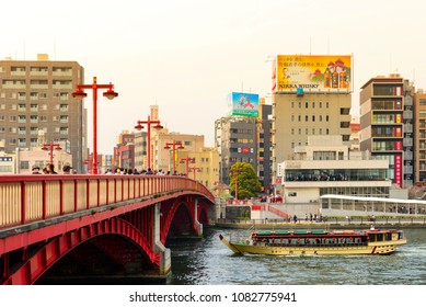 TOKYO JAPAN - MARCH 27, 2018 : Sumida riverside, Popular tourists Tokyo cruise the town from Sumida to Odaiba. This cruise is fun to travel and is a very interesting activity when visiting.
