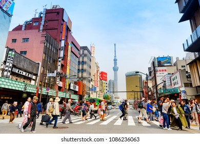 TOKYO JAPAN - MARCH 27, 2018 : Asakusa neighborhood, Unidentified tourists walk past this area has many shops full to shopping and restaurants. One of Tokyo's must-see places to visit.
