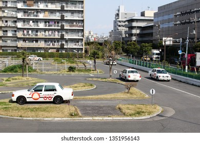 TOKYO, JAPAN - March 27, 2019: View of a Tokyo Chuo driving school with drivers training on its the training course.