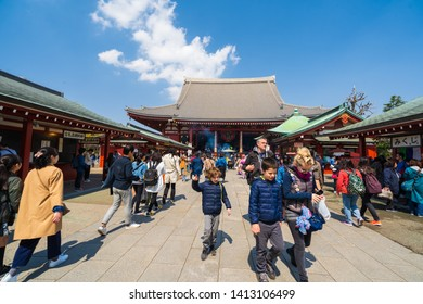 TOKYO, JAPAN - March 27, 2019: Unidentified people visit Sensoji temple in Asakusa, Tokyo, Japan