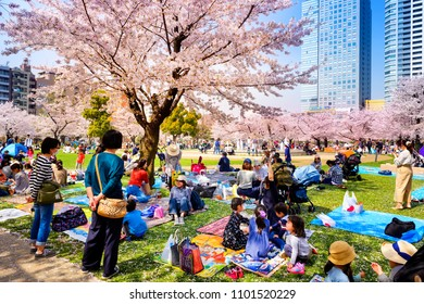 TOKYO JAPAN - MARCH 29, 2018 : Kinshi Park, Unidentified tourists visit the cherry blossom. this phenomenon only once year. It is attractive to both Japanese and foreigners, main activities are family