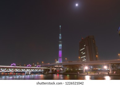 Tokyo, Japan - March 29, 2018: Night view of Tokyo Skytree, the highest tower in Japan. Tokyo Skytree is a broadcasting, restaurant, and observation tower in Sumida, Tokyo, Japan.