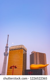 Tokyo, Japan - March 29, 2018: View of the Tokyo skyline from across the Sumida river in Asakusa including the Tokyo Skytree and the Asahi Beer Hall.
