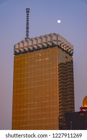 Tokyo, Japan - March 29, 2018: Tokyo Skytree covered by Asahi Beer Hall just like a old school cell phone.