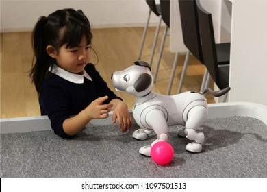 TOKYO, JAPAN - March 30, 2018: A Sony Aibo robot meets a visitor interact in a Sony showroom in Tokyo.