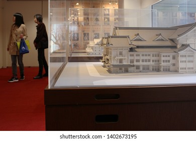 TOKYO, JAPAN - March 31, 2018: A large-scale model of  the Kabuki-za kabuki theater exhibited in the building's gallery.