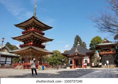 TOKYO, JAPAN - MARCH 31 : Japanese people and foreigner traveler walking visit and praying in Daitou or Great pagoda of Naritasan Shinshoji Temple at Chiba Prefecture on March 31, 2019 in Tokyo, Japan