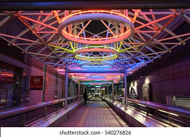 Tokyo, Japan - March 5: Canopy light on pedestrian deck at Faret Tachikawa, Tokyo, Japan on March 5, 2016. The work 'Ena-1' was created by Stephen Antonakos in 1994.
