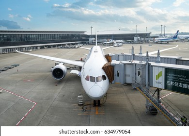 Tokyo, Japan -March 6, 2017: An ANA airplane loading off its passengers and cargo at Narita International airport