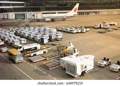 Tokyo, Japan -March 6, 2017; Air cargo unit load devices at Narita International Airport