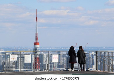 TOKYO, JAPAN - March 8, 2019: Visitors on the 238m Roppongi Hills Mori Tower's Skydeck with Tokyo Tower in the background.