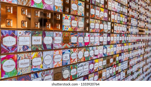 TOKYO, JAPAN - MARCH 9TH, 2019. Tea and coffee labels decoration at Starbucks Reserve Roastery interior wall.