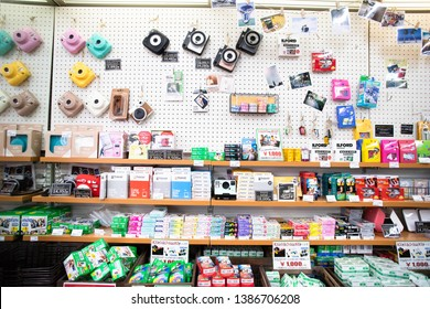 Tokyo, Japan - May 1, 2019: Fujifilm instax mini camers and instant film in store