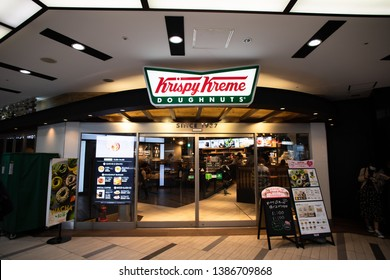 Tokyo, Japan - May 1, 2019: Krispy Kreme Doughnuts, Inc. is an American doughnut company and coffeehouse chain founded in Winston-Salem, North Carolina.