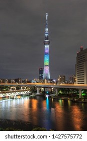 TOKYO, JAPAN - MAY 10, 2019 : Tokyo Skytree . Tokyo Skytree is a broadcasting tower and the tallest structure for all dijital and technology  in Japan .