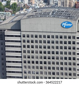 TOKYO, JAPAN - MAY 11, 2012: Pfizer building in Tokyo. Pfizer is one of largest pharmaceutical companies worldwide with tremendous revenue $67.4 bn USD for 2011. It exists since 1849.