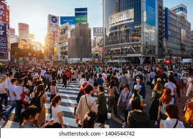 TOKYO, JAPAN - MAY 11, 2019 - Shibuya Crossing is one of the world's most used pedestrian crossings, in central Tokyo, Japan