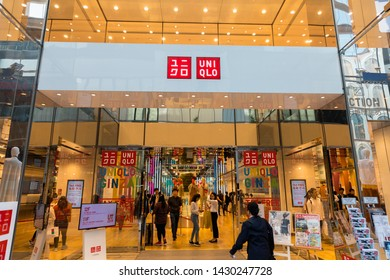 Tokyo, Japan - May 11, 2019: Showcase of UNIQLO Brand Fashion Store at GINZA District in Tokyo. Shopping in Japan, Fisheye shot.