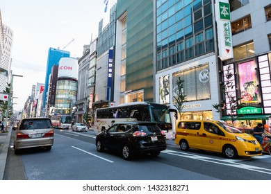 Tokyo, Japan - May 11, 2019 : Ginza district and area is the luxury popular place for shopping in mall and department store of Tokyo