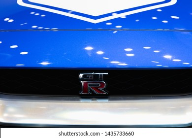 TOKYO, JAPAN - May 11, 2019: New Nissan GT-R sports car on display in 50th anniversary NISMO car at the GINZA PLACE in Tokyo, Japan