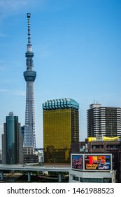 Tokyo, Japan - May 11, 2019: Cityscape with Tokyo Skytree in view.  Great view from Asakusa Culture Tourist Information Center.