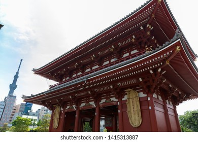 TOKYO, JAPAN - MAY 12, 2019 : The Kaminarimon (Thunder Gate), the outer gate of Sensoji Temple. It's symbol of Asakusa district, Tokyo, Japan.