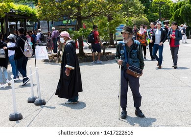 TOKYO, JAPAN - MAY 12, 2019 : Homeless man in Asakusa Sensoji Temple is one of Tokyo Landmark and it's the most significant Buddhist temples located in Asakusa area.