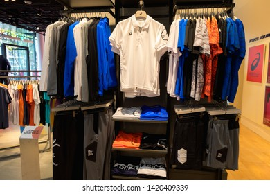 TOKYO, JAPAN - MAY 12, 2019 : Asics shop in in Harajuku. Asics is a Japanese multinational company which produces footwear and sports equipment.